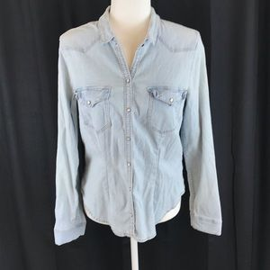 DIVIDED by H&M Denim Pearl Snap Western Shirt 14